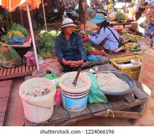 Roluos, Cambodia. November 3, 2018. Prahok, a common condiment in Cambodian cooking, is made of crushed, salted and fermented fish paste. Strong and salty in flavour, it is added to everyday  food.