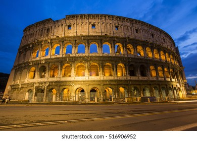 Roma - Amphitheatre Flavian Colosseum. Ancient arena-blue hour