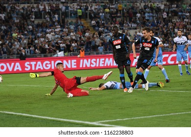 Roma, August 18, 2018: Arkadiusz Milik of SSC Napoli scores his team's first goal during football match serie A League 2019 between SS LAZIO vs SSC NAPOLI at Olimpico Stadium.