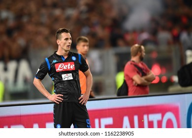 Roma, August 18, 2018: Arkadiusz Milik misses open goal during football match serie A League 2019 between SS LAZIO vs SSC NAPOLI at Olimpico Stadium.