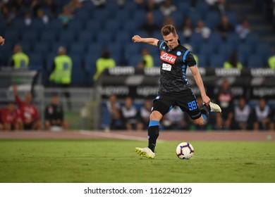 Roma, August 18, 2018: Arkadiusz Milik of Napoli during football match serie A League 2019 between SS LAZIO vs SSC NAPOLI at Olimpico Stadium.
