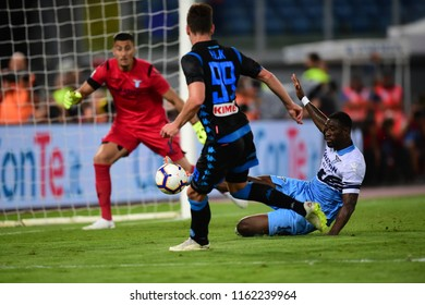 Roma, August 18, 2018: Bastos stops the ball with sliding tackle after one-on-one situation with Arkadiusz Milik during football match serie A League 2019 between LAZIO vs  NAPOLI at Olimpico Stadium