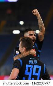 Roma, August 18, 2018: Lorenzo Insigne and Arkadiusz Milik of SSC Napoli celebrate after scoring during football match serie A League 2019 between SS LAZIO vs SSC NAPOLI at Olimpico Stadium.