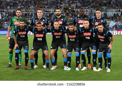 Roma, August 18, 2018: Team of SSC Napoli before football match serie A League 2019 between SS LAZIO vs SSC NAPOLI at Olimpico Stadium.