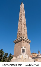 Roma - Italy \ 06-20-2020: Egyptian obelisk of Sety I (later erected by Rameses II) from Heliopolis  that stands in the centre of Piazza del Popolo