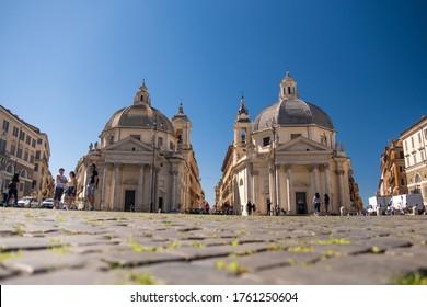"""Roma - Italy \ 06-20-2020: Piazza del Popolo (The People's Square) and the """"twin"""" churches of Santa Maria in Montesanto and Santa Maria dei Miracoli"""