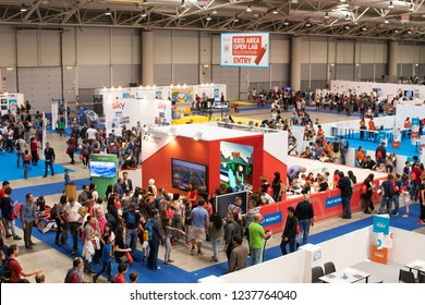 Roma, Italy, 13-10-2018: Maker Faire Rome 2018 Kids Area top view with crowd of visitors