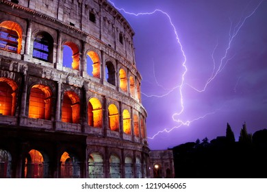 Roma - Italy. Colosseo (Coliseum) at night with thunder during a storm