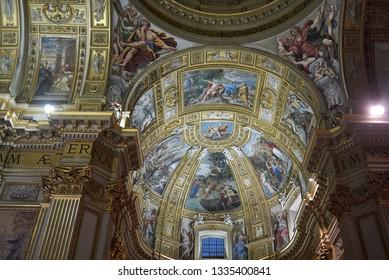 Roma, Italy - February 05, 2019 : View of Saint Andrew Basilica, called Sant Andrea della Valle