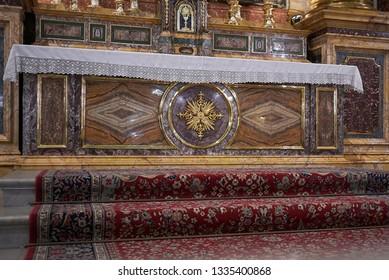 Roma, Italy - February 05, 2019 : Main altar of Saint Andrew Basilica, called Sant Andrea della Valle