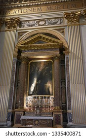 Roma, Italy - February 05, 2019 : Oil painting in a chapel of Saint Andrew Basilica, called Sant Andrea della Valle