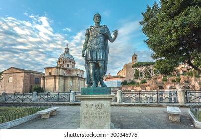 ROMA, ITALY - JANUARY 25, 2015: Bronze statue of roman emperor Julius Caesar on the roman forum