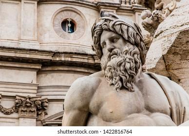 Roma, Italy - May 1 2013: Bernini`s sculpture masterpiece at  Navona Piazza in Roma