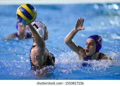 Roma, Italy, November 02 2019 contrast picozzi (l) vs markoch (r) during Sis Roma vs Kinef Surgutneftegas Kirishi Waterpolo EuroLeague Women Championship