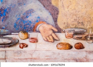 Roma, Italy, October 21, 2017: Fragment of the Last Supper (fresco by Leonardo da Vinci)