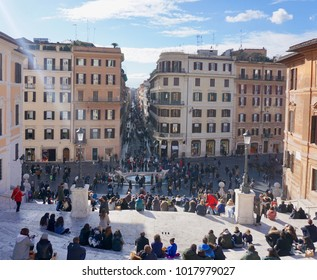 Roma, Italy-February 4, 2018: tourists at Piazza di Spagna and Spanish Steps on a sunny day