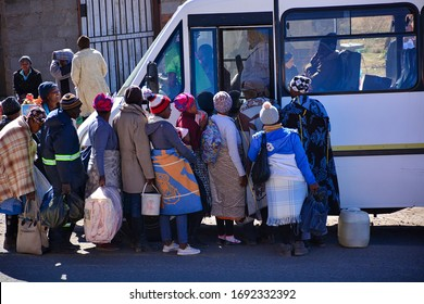 Roma, Kingdom of Lesotho, Africa – 26th of July 2019: local bus from Roma to Maseru