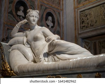 Roma, Lazio, Italy - October 27, 2019 : The Pauline Bonaparte by Antonio Canova of the Galleria Borghese (Borghese Gallery) in Roma, Lazio, Italy