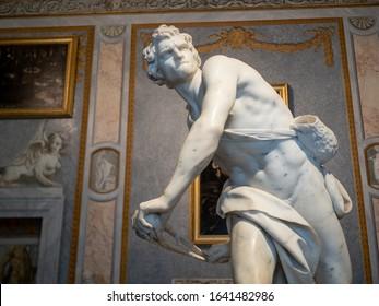 Roma, Lazio, Italy - October 27, 2019 : The David by Bernini of the Galleria Borghese (Borghese Gallery) in Roma, Lazio, Italy