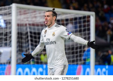 ROMA - NOV 27, 2018: Gareth Bale 11 celebrates the goal he scored with his tongue out. AS Roma - Real Madrid. UEFA Champions League.  Group stage. Matchday 5. Stadio Olimpico