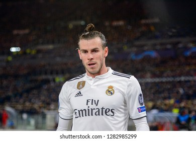 ROMA - NOV 27, 2018: Gareth Bale 11 close up portrait. AS Roma - Real Madrid. UEFA Champions League.  Group stage. Matchday 5. Stadio Olimpico