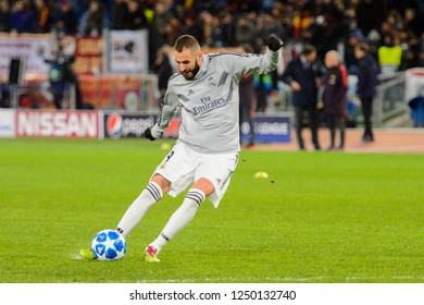 ROMA - NOV 27, 2018: Karim Benzema 9 shoots on goal. AS Roma - Real Madrid. UEFA Champions League.  Group stage. Matchday 5. Stadio Olimpico