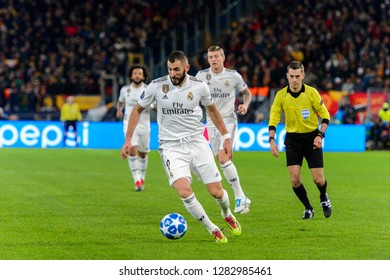 ROMA - NOV 27, 2018: Karim Benzema 9 attacks with a ball. AS Roma - Real Madrid. UEFA Champions League.  Group stage. Matchday 5. Stadio Olimpico