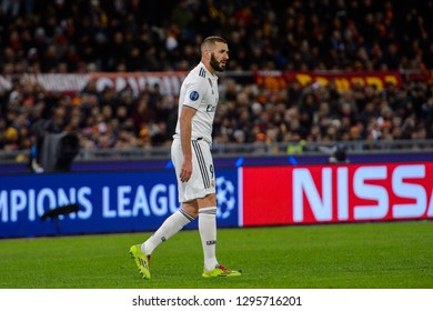 ROMA - NOV 27, 2018: Karim Benzema 9. AS Roma - Real Madrid. UEFA Champions League.  Group stage. Matchday 5. Stadio Olimpico