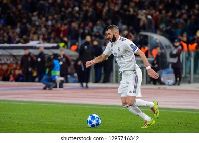ROMA - NOV 27, 2018: Karim Benzema 9 attacks on speed. AS Roma - Real Madrid. UEFA Champions League.  Group stage. Matchday 5. Stadio Olimpico