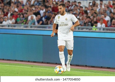 Roma (RM), Italy - August 11,2019: Eden Hazard during friendly football match between AS Roma Vs Real Madrid at the Olimpico Stadium in Rome.