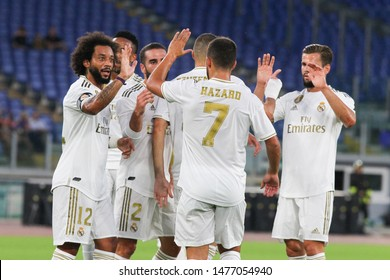 Roma (RM), Italy - August 11,2019: Marcelo celebration during friendly football match between AS Roma Vs Real Madrid at the Olimpico Stadium in Rome.