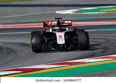 Romain Grosjean, France competes for Rich Energy Haas F1 Team at the F1 Winter Testing for the 2020 season at the Circuit de Barcelona-Catalunya, Spain