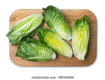 romaine lettuce on kitchen board