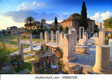 Roman Agora with ancient columns and ruins at sunset, Athens, Greece