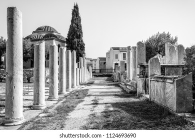Roman Agora in black and white, Athens, Greece. It is one of the main landmarks of Athens. Scenery of Ancient Greek ruins in Athens centre near Plaka district. Historical architecture of old Athens.