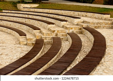 Roman amphitheater after rain in Iasi, Romania. Design and special arrangement of the seats.