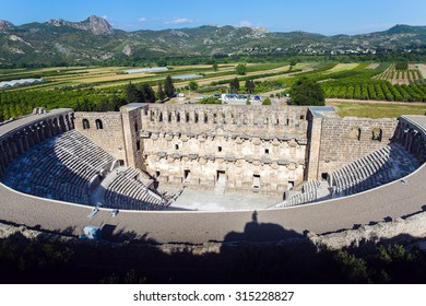 Roman amphitheater in Aspendos aerial view, Belkiz, Antalya, Turkey