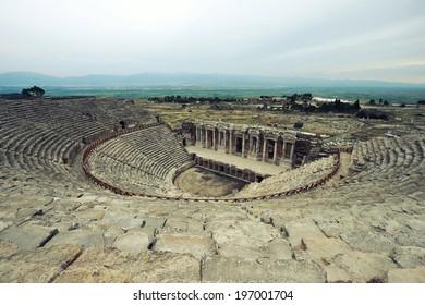 Roman amphitheater of Hierapolis, Pamukkale, Turkey, old civilisation sights