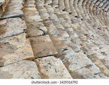 The roman amphitheater at Hierapolis. Ruins of the amphitheater - Roman amphitheater in ancient. Turkey. Panorama ancient Greco Roman city. Tourist excursions. Travels. Vacation. Vacation.