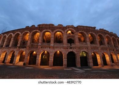 Roman amphitheater internationlly known for opera performances, Verona