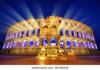 The Roman Amphitheater of pula, Croatia at night.