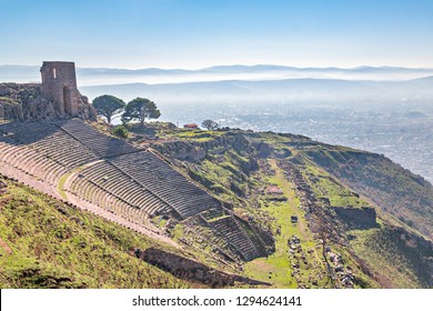 Roman amphitheater in the ruins of the ancient city of Pergamum known also as Pergamon, Izmir, Turkey.