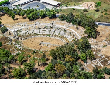 Roman amphitheater of Syracuse Sicily, aerial view