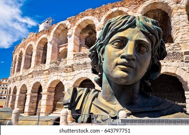 Roman amphitheatre Arena di Verona view, landmark in Veneto region of Italy
