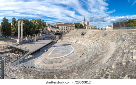 Roman amphitheatre in Arles, France in a beautiful summer day