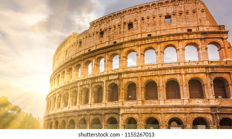 Roman amphitheatre, built of concrete and sand, the Coliseum is an oval building in the centre of the city of Rome, Italy.