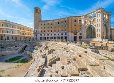 Roman Amphitheatre in Lecce, Puglia (Apulia), southern Italy.