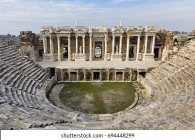 Roman amphitheatre in the ruins of Hierapolis, in Pamukkale, Turkey.