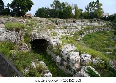 The Roman amphitheatre, Syracuse, Sicily, Italy
