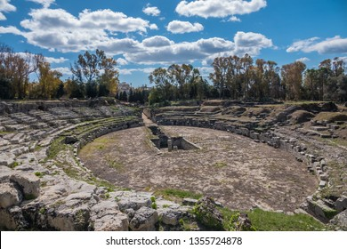 The Roman amphitheatre of Syracuse (Siracusa), a historic city on the island of Sicily, Italy. Notable for its rich Greek history, culture, amphitheatres, architecture